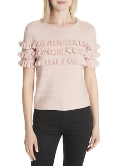 kate spade new york ruffled cotton & cashmere sweater