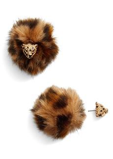 kate spade new york run wild cheetah front/back earrings