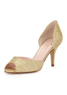 Kate Spade sage glitter peep-toe pump