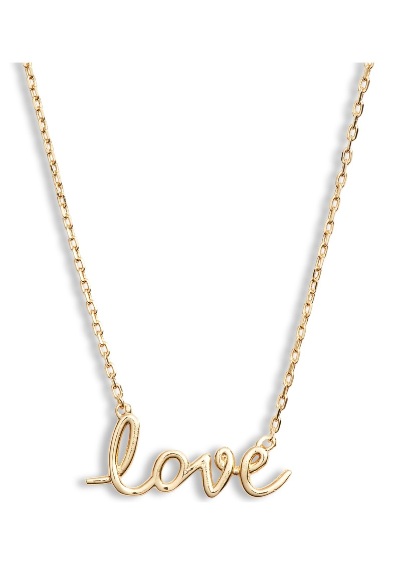 kate spade new york say yes love script pendant necklace