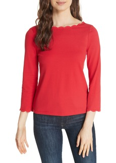 kate spade new york scallop neck knit top