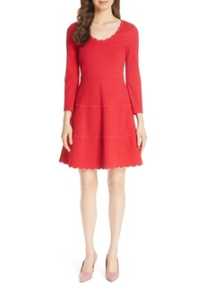 kate spade new york scallop ponte fit & flare dress