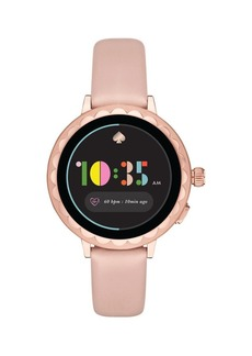 Kate Spade New York Scallop Stainless Steel & Leather Strap Smart Watch