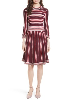 kate spade new york scallop stripe knit fit & flare dress