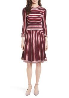 kate spade new york scallop stripe knit fit & flare dress