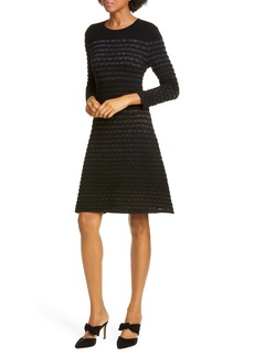 kate spade new york scallop stripe shine wool blend sweater dress