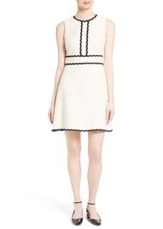 kate spade new york scallop trim tweed fit & flare dress