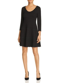 kate spade new york Scalloped Ponte Fit-and-Flare Dress