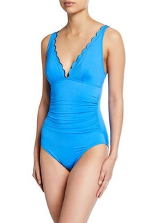 kate spade new york scalloped v-neck ruched one-piece swimsuit
