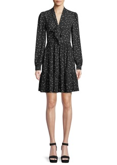 kate spade new york scatter dot self-tie v-neck shirt dress