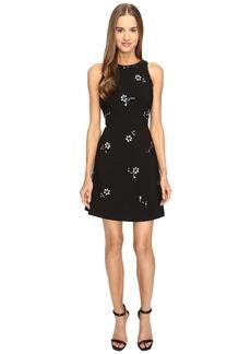 Kate Spade New York Scattered Brooch Crepe Dress