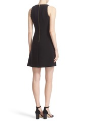 kate spade new york 'scattered brooch' embellished crepe a-line dress