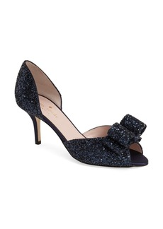 kate spade new york 'sela' glitter bow peep toe pump (Women)