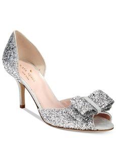 kate spade new york Sela Glitter Open-Toe Pumps Women's Shoes