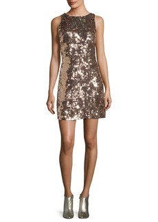 kate spade new york sequin open-back bow mini dress