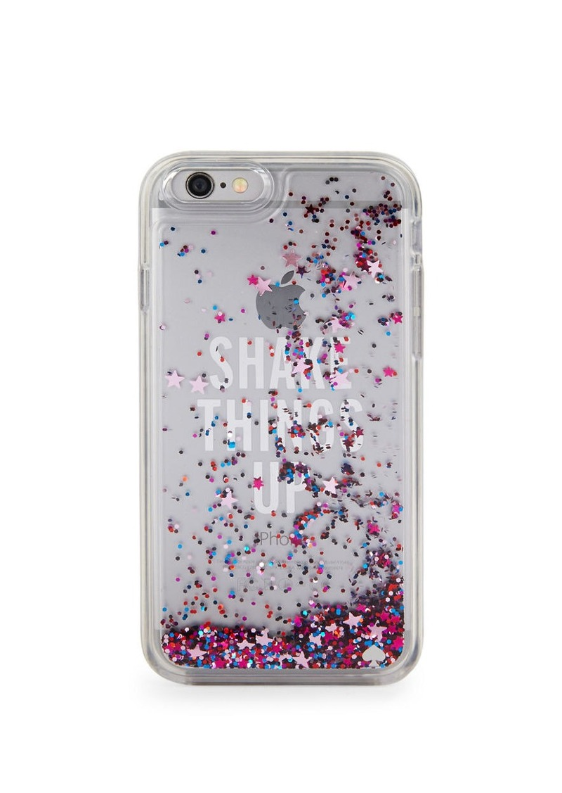 KATE SPADE NEW YORK Shake Things Up Clear Glitter iPhone 6 Case