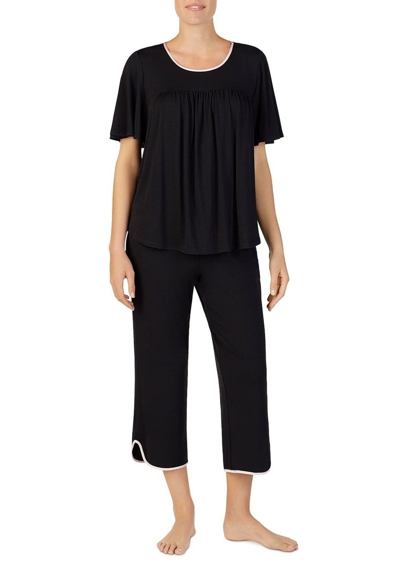 kate spade new york Short Sleeve Gathered Pajama Set