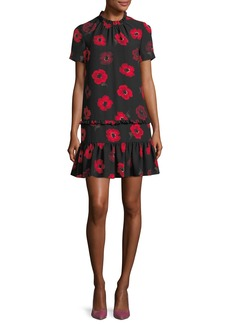 kate spade new york short-sleeve ruffled poppy floral shift dress