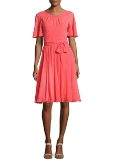 Kate Spade silk chiffon clipped polka-dot dress