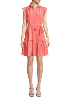 kate spade new york silk dress w/ ruffle sleeves & collar