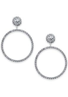kate spade new york Silver-Tone Crystal Door Knocker Drop Hoop Earrings