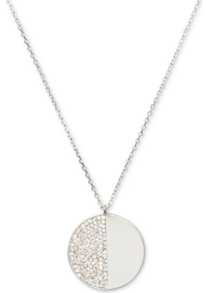 "Kate Spade New York Silver-Tone Pave Stone 17"" Pendant Necklace"