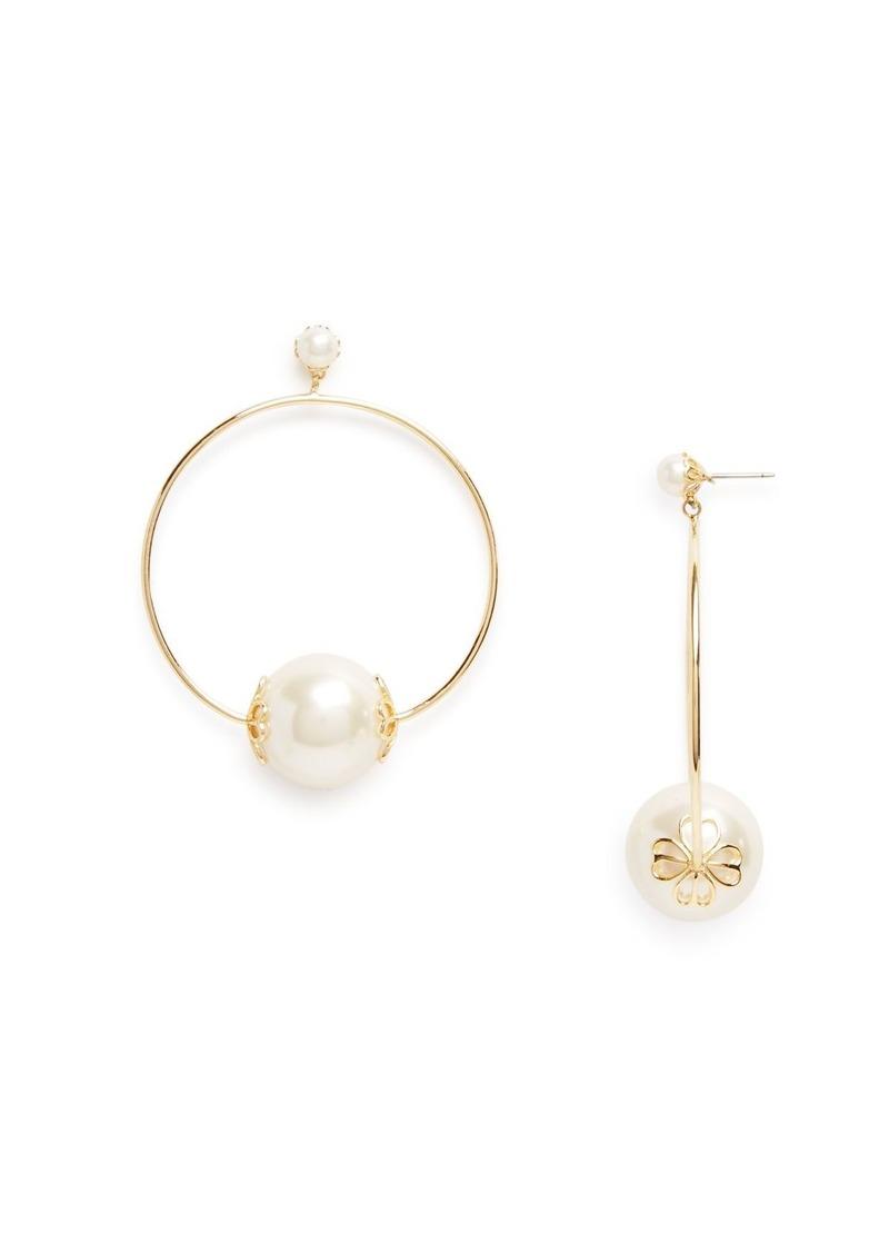 kate spade new york Simulated-Pearl Frontal Hoop Earrings