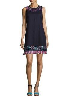 kate spade new york sleeveless embroidered linen-blend tassel dress