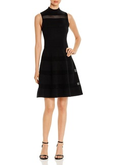 kate spade new york Sleeveless Mesh-Inset Sweater Dress