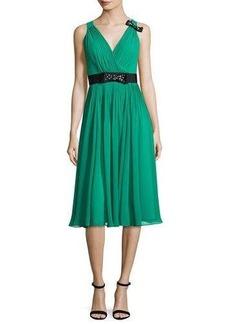 kate spade new york sleeveless shirred silk chiffon midi dress