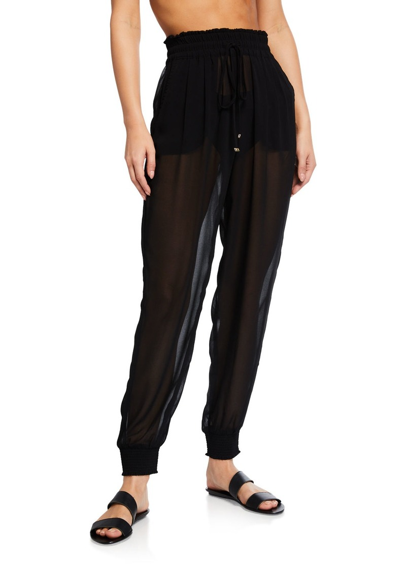 kate spade new york smocked drawstring chiffon coverup pants
