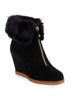 Kate Spade New York Stasia Faux Fur-Accented Suede Wedge Ankle Boots