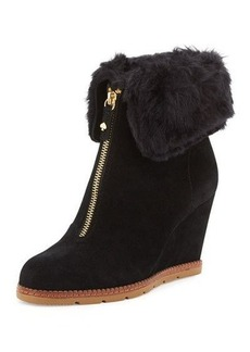kate spade new york stasia shearling-cuff wedge bootie