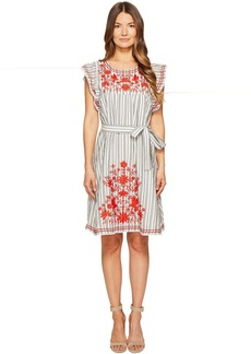 Kate Spade New York Stripe Embroidered Babydoll Dress