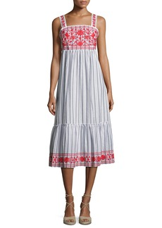 kate spade new york stripe embroidered sleeveless midi dress