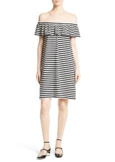 kate spade new york stripe knit off the shoulder dress