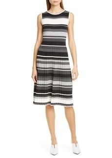 kate spade new york stripe knit pleated dress