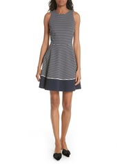 kate spade new york stripe ponte fit & flare dress