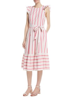 Kate Spade stripe poplin cap-sleeve midi dress