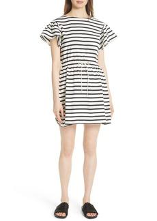 kate spade new york stripe tie waist dress