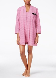 kate spade new york Striped Bow-Trimmed Robe