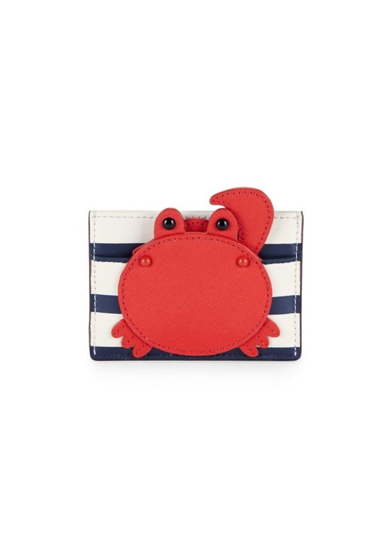 reputable site f2ddc ca94d New York Striped Crab Leather Card Case
