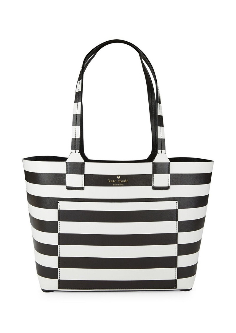 KATE SPADE NEW YORK Striped Grain Leather Tote