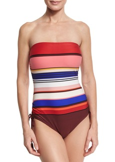 kate spade new york striped ruched-side bandeau one-piece swimsuit