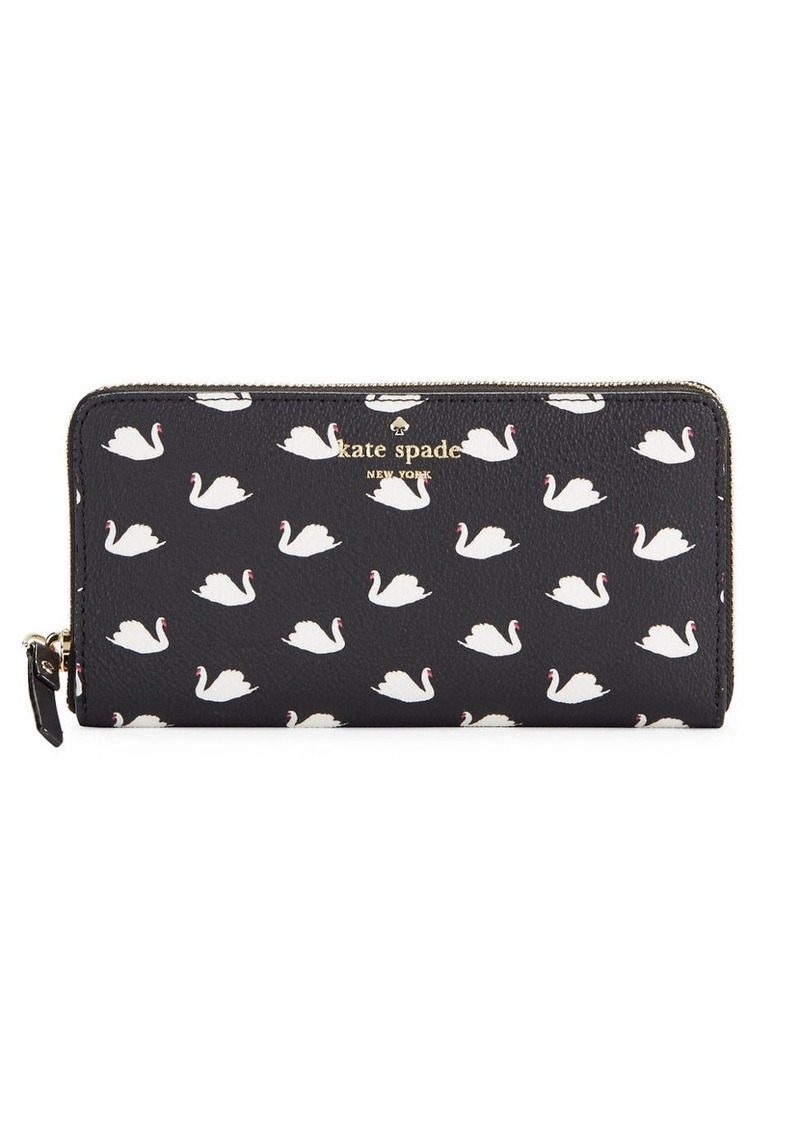 KATE SPADE NEW YORK Swan-Print Lacey Faux Leather Wallet