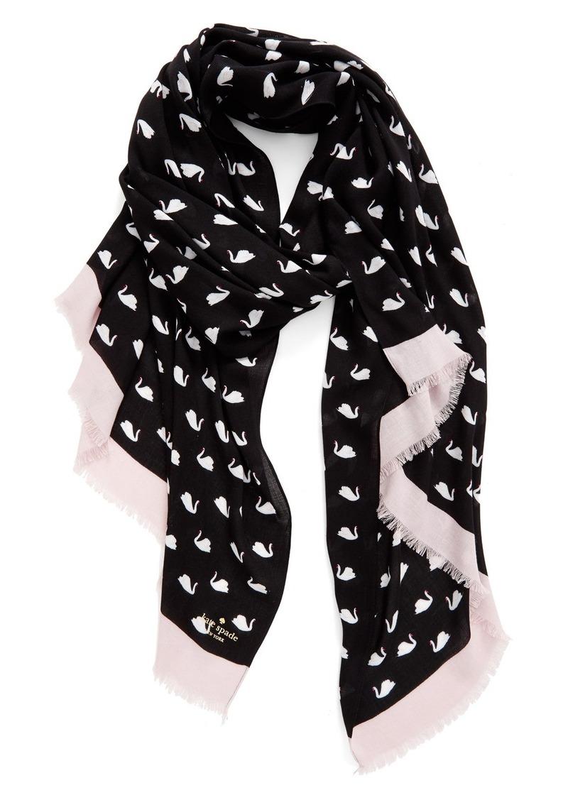 kate spade new york 'swans' twill scarf