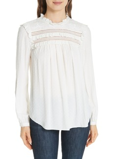 kate spade new york swiss dot high neck blouse