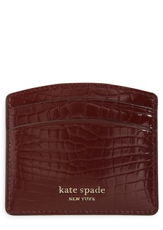 kate spade new york sylvia croc embossed leather card case