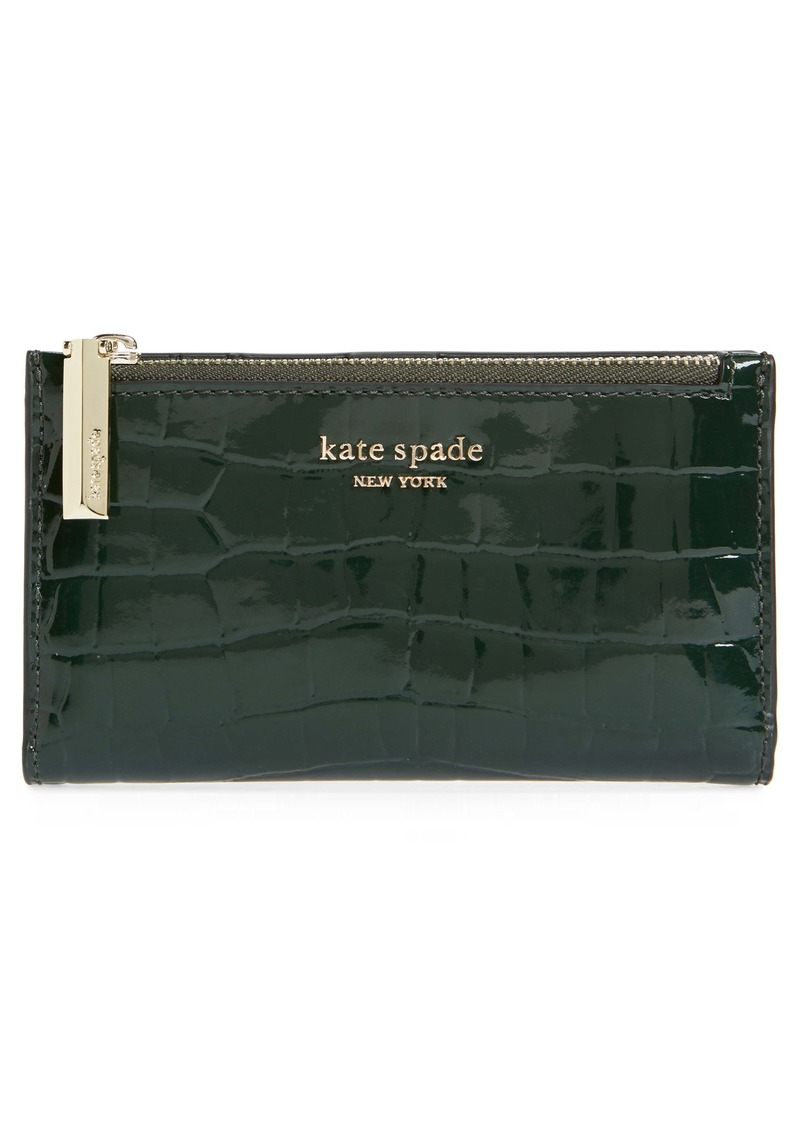 kate spade new york sylvia croc embossed leather slim bifold wallet