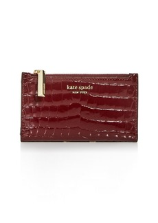 kate spade new york Sylvia Croc-Embossed Slim Bi-Fold Wallet